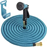 HBlife 75 ft Heavy Duty Expandable Lawn Garden Water Hose with 8 Spray Pattern Nozzle with Triple Layer Latex Core & Latest Improved Extra Strength Fabric Protection