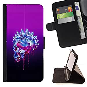For Samsung Galaxy S5 V SM-G900 Bling Skull Purple Crystal Art Death Leather Foilo Wallet Cover Case with Magnetic Closure