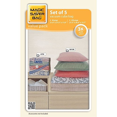 Magic Saver Jumbo Vacuum Cube Storage Bags, 5 Piece Cube Com