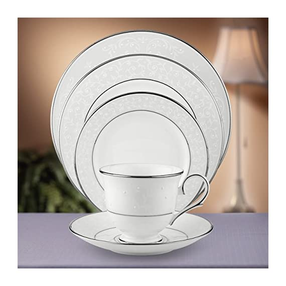 Lenox Opal Innocence Platinum-Banded Bone China 5-Piece Place Setting, Service for 1 - 5-piece fine dining place setting with sweet hand-enameled design Includes dinner plate, salad/dessert plate, bread and butter plate, teacup, and saucer Crafted from Lenox fine bone china - kitchen-tabletop, kitchen-dining-room, dinnerware-sets - 51YYOl99JrL. SS570  -