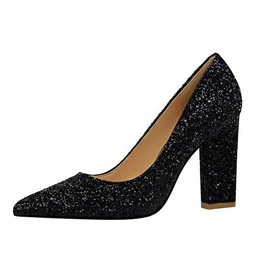 Chaussures Couleur Femme Unie Légeres Tissu À Paillette Aalardom Noir Tire A0UpcWp7