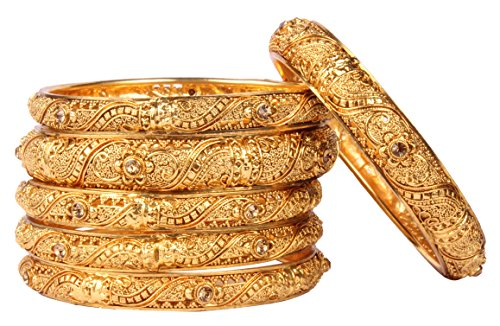 Shiv_Collection Beautiful Gold Tone Indian Polki Bangle Ethnic Traditional Bollywood Fashion Jewelry