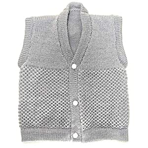 Baby Woolen Knitted Sleeveless Sweater (from 0-12 Months Boys and Girls) (S=Small, Grey)