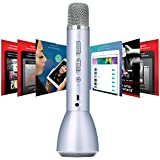 Wireless Karaoke Singing Machine Microphone+Bluetooth Speaker 2in1 Compatible with iOS Android Singing App and Song Recording for Kids Sing Practice,KTV,Home Karaoke,Indoor&Outdoor Party (Silver)