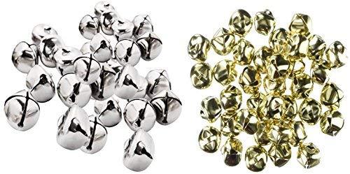 Jingle bells - 48 Gold Bells 1/2-Inch, 30 Silver Bells 3/4-Inch