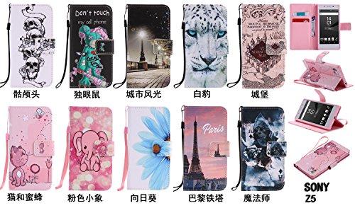 PU Xperia Z5funda Flip cover de piel para Sony Xperia Z5Flip Cover Funda Libro Con Tarjetero Función Atril magnético + Polvo Conector morado 7 10