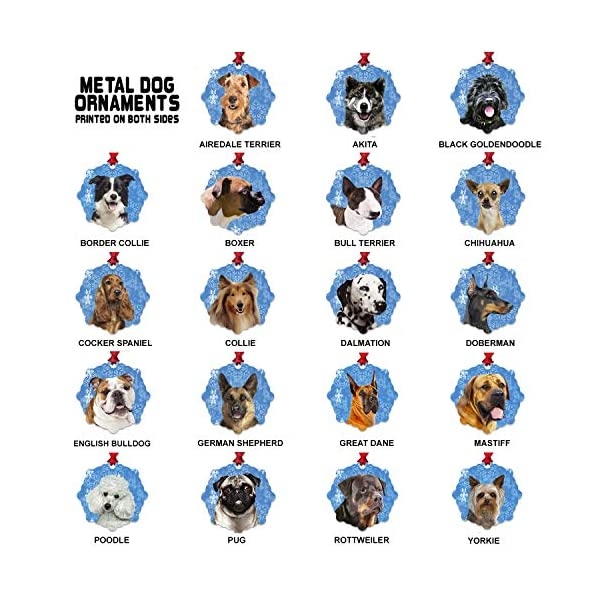 mmandiDESIGNS Dogs Christmas Tree Stocking Metal Ornaments Printed on Both Sides an Image of Your Favorite Family Pet Gift for Dog Mom Dad Owner (Bull Terrier) 2