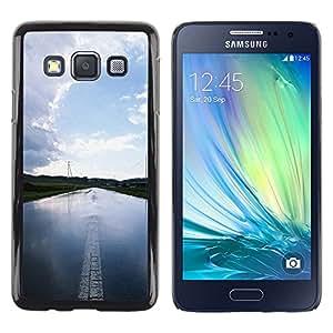TopCaseStore / la caja del caucho duro de la cubierta de protección de la piel - Nature Water Road - Samsung Galaxy A3 SM-A300