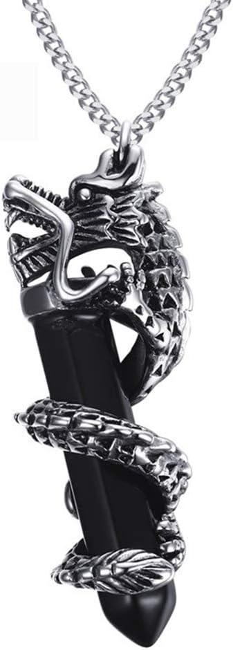 Dragón Ágata Collar Jewelry de Acero Inoxidable Piedras Preciosas Colgante Joyeria Cadena de suéter Aniversario Pareja Regalo