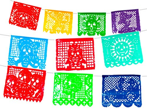 Plastic Day of the Dead Mexican Papel picado Banner. Dia de Muertos Decorations.