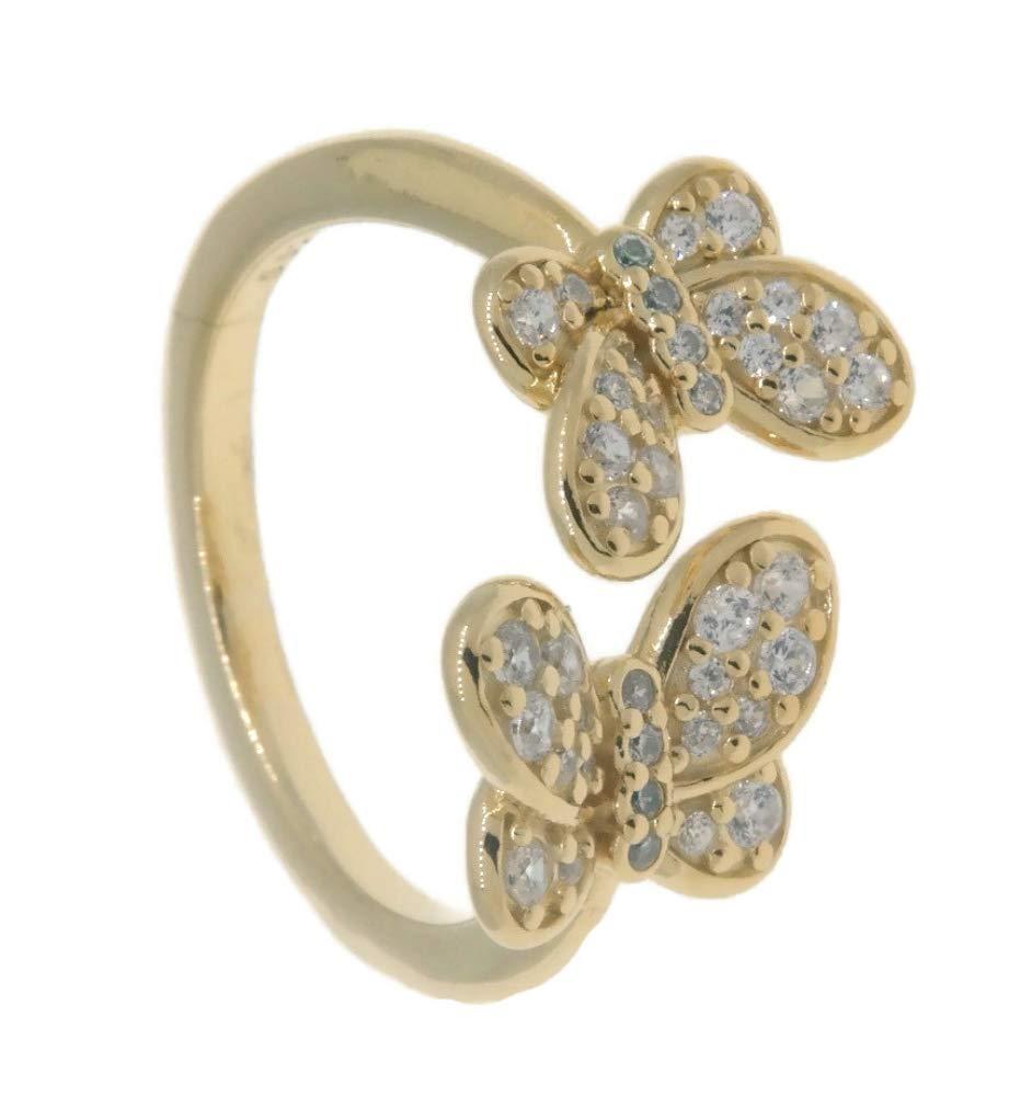 PANDORA Dazzling Butterflies 18k Gold Plated PANDORA Shine Collection Ring, Size: EUR-56, US-7.5-167913CZ-56