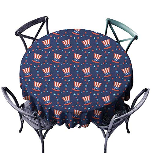 XXANS Washable Round Tablecloth,USA,Table Cover for Kitchen Dinning Tabletop Decoratio,67 INCH Navy Blue White Red