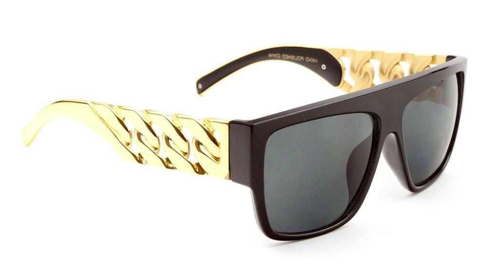 Black Gold Cuban Link Chain Wayfarer Sunglasses Black Lens