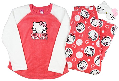 Hello Kitty Plush Pajama Sleep Set w/ Eyemask - (Hello Kitty Gifts For Adults)