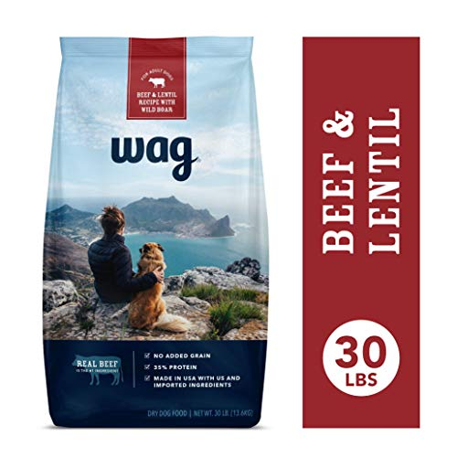 Amazon Brand - Wag Dry Dog Food Beef & Lentil Recipe with Wild Boar (30 lb. Bag) (Taste Of The Wild Diet Dog Food)