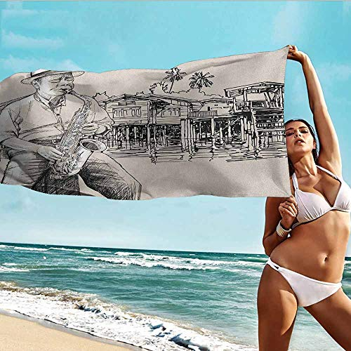 Antonia Reed Printed Bath Towel Jazz Music,Art with Jazz Saxophonist Playing at River Bank Palm Trees Bungalow Reflection,Beige Black,Suitable for Home,Travel,Swimming Use 32