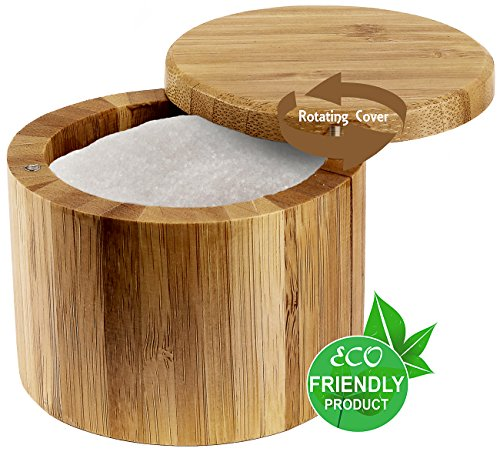 Estilo 100% Natural Bamboo Single Round Salt Or Spice Box With ()