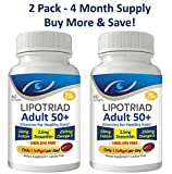 Cheap Lipotriad Adult 50+ Eye Vitamin and Mineral Supplement w/10mg Lutein, Zeaxanthin, Omega 3, Vitamin C, E, Zinc Copper, 1 Per Day, 60 Softgels – 4mo Supply – 2pck
