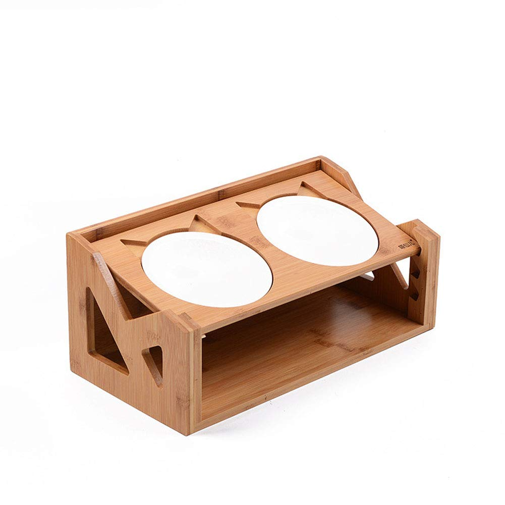 Height Adjustable Cat Dinner Table, Solid Pine Wood Stand Pet Feeder with Ceramic Bowls