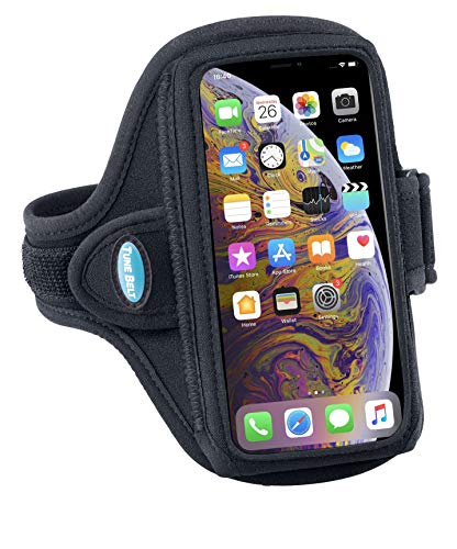 Armband Compatible with iPhone Xs Max, Xr, 8 7 6s 6 PLUS, Galaxy S8 S9 Plus and Note 8 9 - For Running & Working Out - Sweat-Resistant [Black]