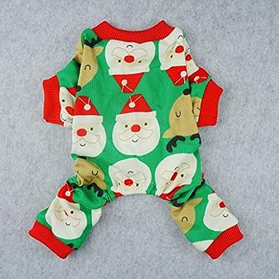 Fitwarm Cute Santa Reindeer Pet Clothes Christmas Dog Pajamas Shirts, Green