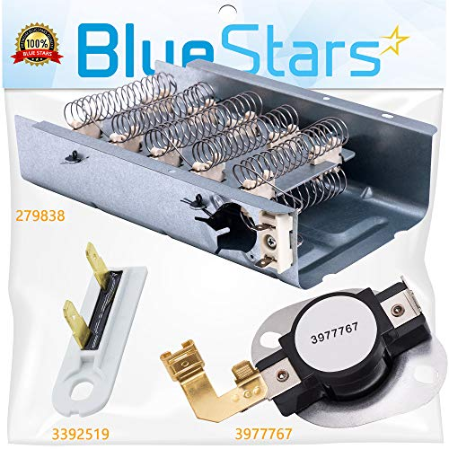 279838 & 3977767 & 3392519 Dryer Heating Element and Thermal Cut-off Fuse Kit Replacement by Blue Stars - Exact Fit For Whirlpool & Kenmore Dryers (Element Dryer Part Heat 279838)