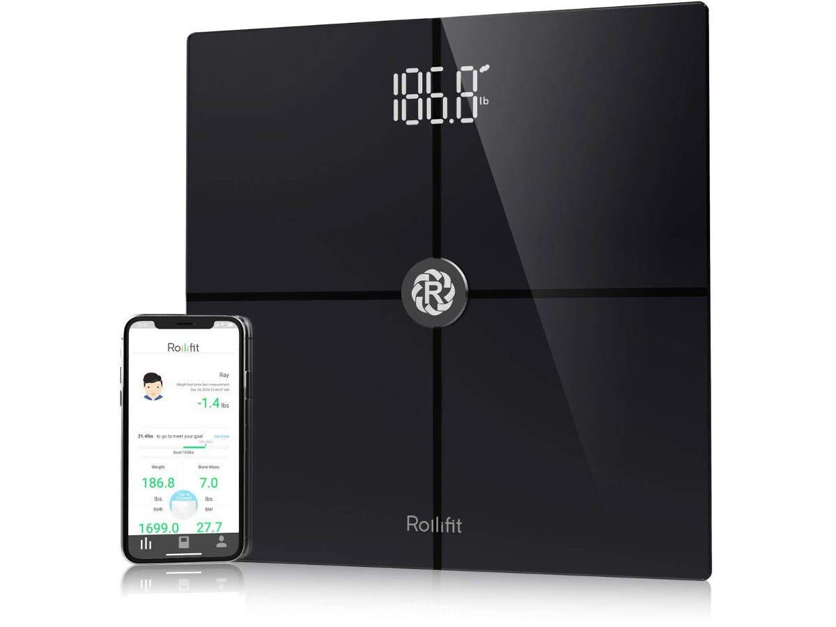 Rollifit Smart Body Fat Scale, Digital Bathroom Weight Scale Sync with Fitbit, Apple Health and Google Fit, Tracks 8 Key Compositions Analyzer, 6mm Tempered Glass, 400 lbs, FDA Approved, Black
