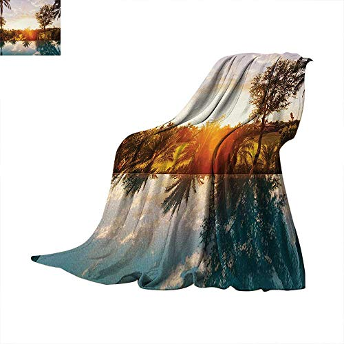 Unc Pool Table Light - Hawaiian Super Soft Lightweight Blanket Home with Swimming Pool at Sunset Tropics Palms Private Villa Resort Scenic View Oversized Travel Throw Cover Blanket 70