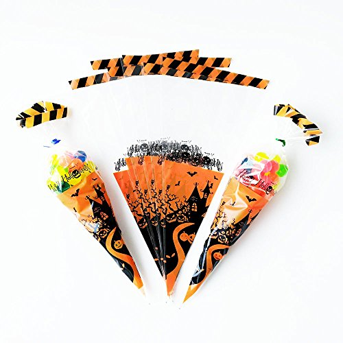 Awerise Pack of 50 Halloween Cone Bags, Trick or Treat Bags, Halloween Cellophane Bags, Cello Bags, Party (Halloween Cellophane Cone Bags)