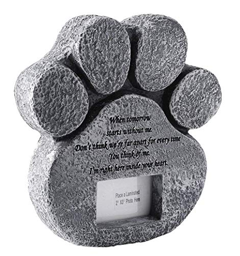 jinhuoba Paw Print Pet Memorial Stone - Features a Photo Frame and Sympathy Poem - Loss of Pet Gift, Dog or Cat Memorial. (Big paw)