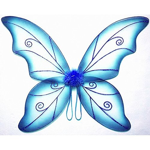 Costume Fairy Wings - Large (34in) Pixie Princess Dress up Wings By Cutie Collection (Adult, Black) (BLUE) -