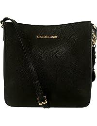 Michael Kors Women's Jet Set Travel Large Messenger Leather Messenger Bag Satchel - Black