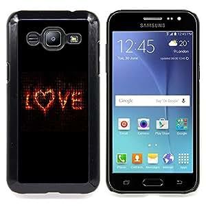 - love flaming heart black text valentines/ Duro Snap en el tel??fono celular de la cubierta - Cao - For Samsung Galaxy J2
