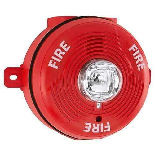 System Sensor PC2RHK Ceiling Mount Outdoor Horn / Strobe 2Wire Hi CD Red w/ selectable high-candela strobe settings of 135, 150, 177 and 185 cd. Outdoor back box included.