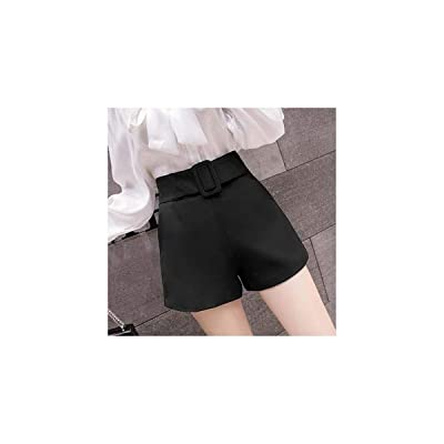 2019 Summer Korean High Waist Shorts Women Ladies Elegant Slim Chiffon Women Shorts Belted a Line Short Feminino Blue Pink Black: Ropa y accesorios