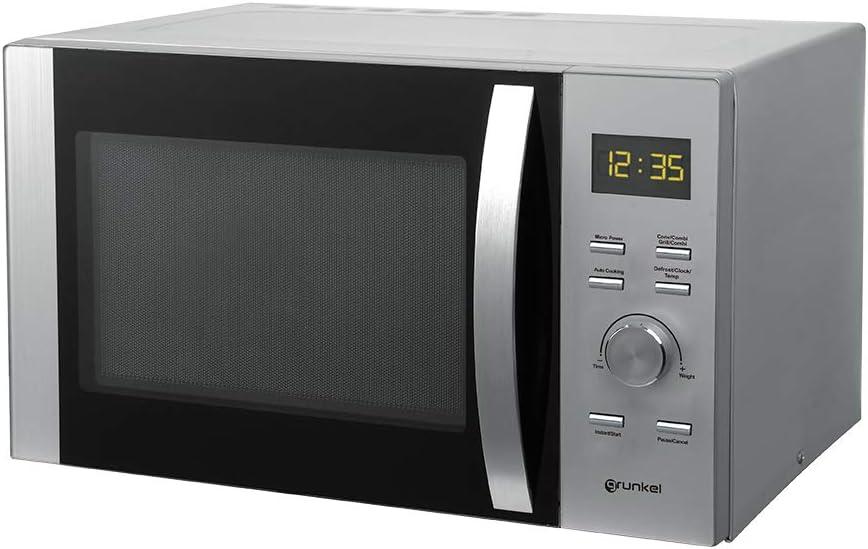 Grunkel - Microondas digital con grill y horno de 30 litros de capacidad en acero inoxidable y 900W. 5 niveles de potencia y 4 niveles de combinado. Temporizador hasta 60 minutos. Modelo MWG-30SS