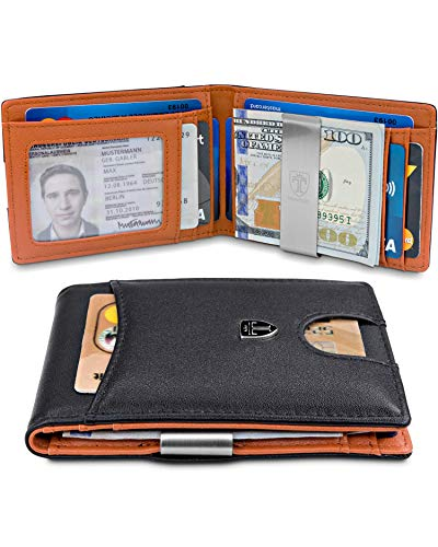TRAVANDO Slim Wallet with Money Clip SEATTLE RFID Blocking Card Mini Bifold Men -