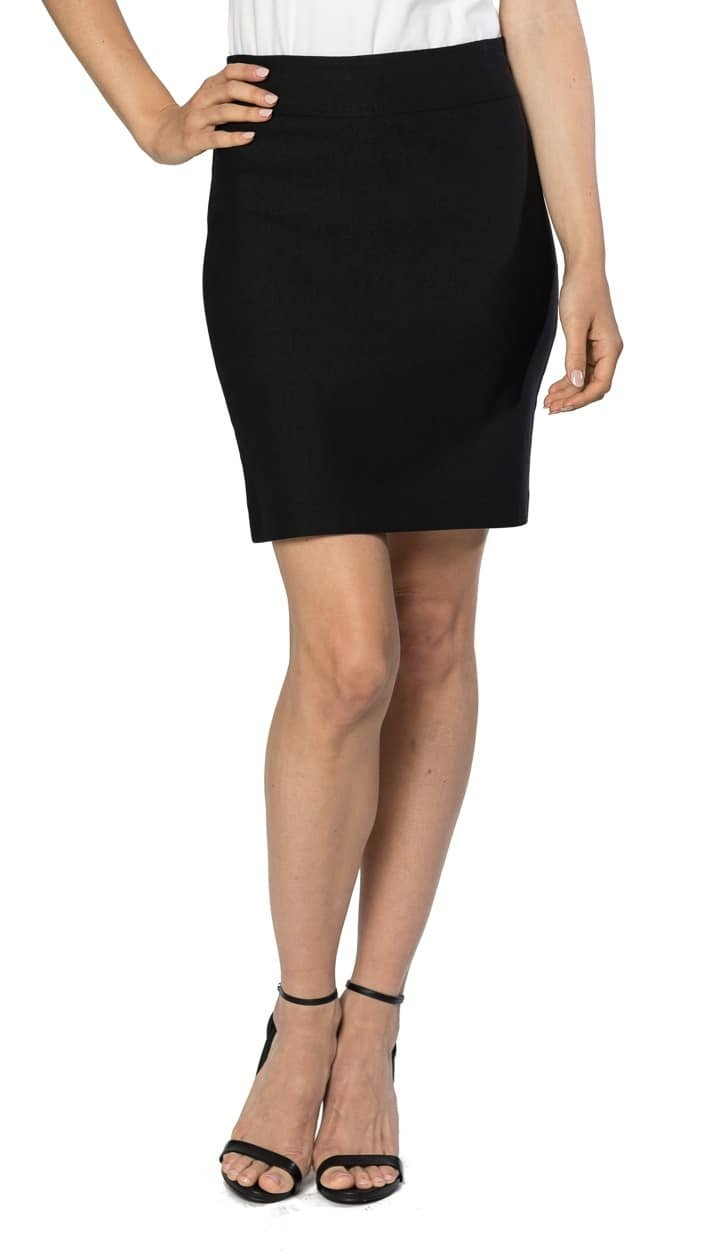 Velucci Womens Stretchable Mini Pencil Skirt - Above The Knee 19'' Length Classic Skirt, Black-S