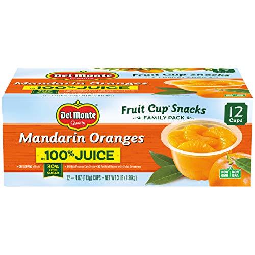 Del Monte Mandarin Orange Fruit Snack Cups in 100% Juice, 4-Ounce, Pack of 12