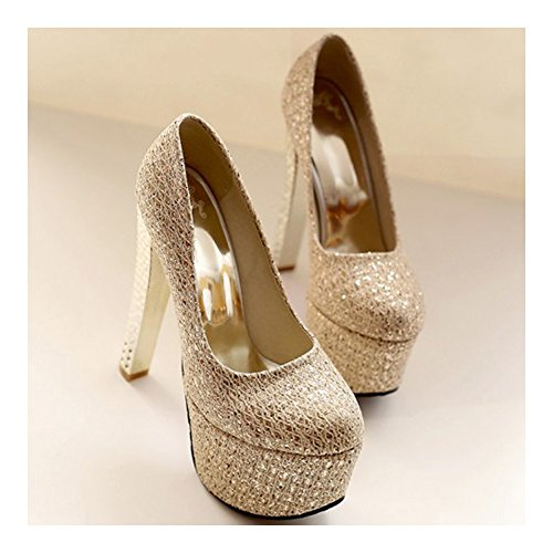 Club Size golden Super Plus Bridal Wedding T Shoes Stage Night High n6gvX60