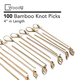Bamboo Knot Picks 100pc Cocktail Skewers Eco friendly Biodegradable