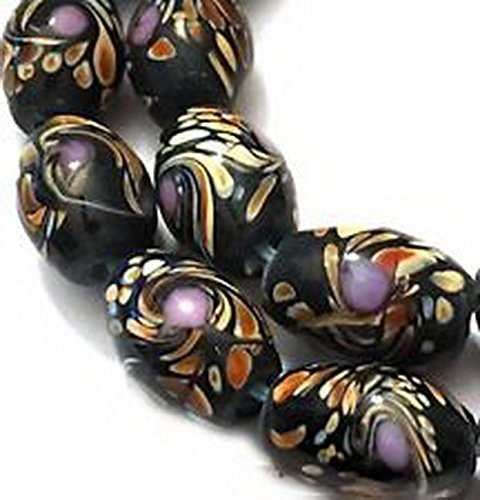 Glamorise Beads #13578 Lampwork Handmade Glass moonlight / Black Peacock