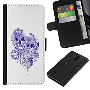 Be-Star la tarjeta de Crédito Slots PU Funda de cuero Monedero caso cubierta de piel Para Samsung Galaxy Note 4 IV ( Purple Ink Tattoo Skull Death Art Rose )