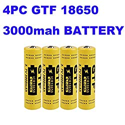 4 Pcs GTF Button Top 18650 Batteries 3.7V 3000mAh High-Capacity Lithium Rechargeable Battery for LED Lights/Toys/MP3/TV Remote Controls/Alarm Clocks/Flashlight Torch not aa Battery, not Flat Top