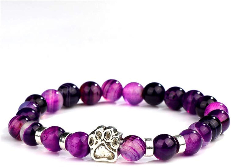 Pulsera de Cuentas, Natural Stone Mala Bead Yoga Bracelet Pitbull Dog Hand Paw 8Mm Elastic Rope Bead Bracelet Fashion Men Women Jewelry ND11128 Size S 16-17cm
