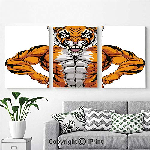 Modern Gallery Wrapped Canvas Print Wildlife Safari African Animal Bodybuilder Tiger Cartoon Image 3 Panels Pictures on Canvas Wall Art Ready to Hang for Living Room Kitchen Home Decor,12