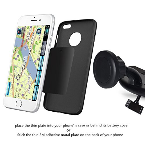 Kootek® Universal CD Slot Phone Holder Magnetic Car Mount with Ultra Thin Metal Mounting Plate Quick-snap Technology for Apple iPhone 6 6 Plus 5S 5C 5 4S 4, Samsung Galaxy S6 S5 S4 S3 S2, HTC One M7 M8 M9, Nokia Lumia 1020, Mini Tablets and Navigation Devices