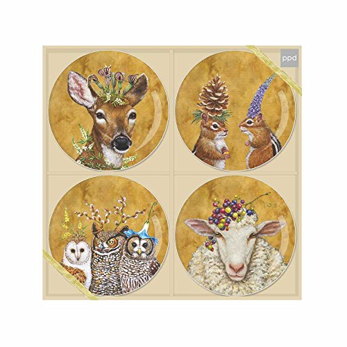 Paperproducts Design Appetizer Plate Displaying The Lovely Woodsy & Wise Design (Set of 4), 7'', Multicolor by Paperproducts Design