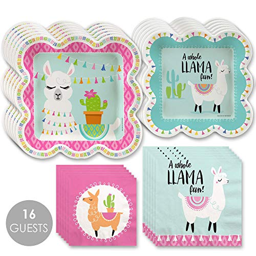 Whole Llama Fun - Llama Fiesta Baby Shower or Birthday Party Tableware Plates and Napkins - Bundle for -