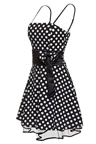 Laeticia Dreams - Vestido de mujer Petticoat Rockabilly S M L XL Schwarz/Weiß Punkte Medium